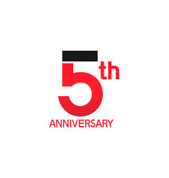 5 years anniversary logotype with black and red vector