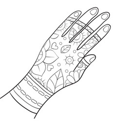 Adult coloring bookpage a cute hand vector