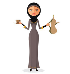 Arab woman holding an arabic coffee pot isolated vector