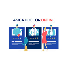 ask a doctor online - colorful flat design style vector image