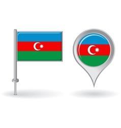 Azerbaijani pin icon and map pointer flag vector