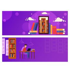 Banner online education for website the guy is vector