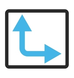 Bifurcation Arrow Right Up Framed Icon vector