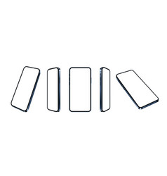 Blue smartphone realistic mockup set different vector