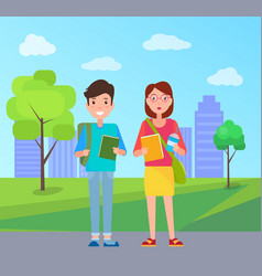 boy and girl with books happy students buildings vector image