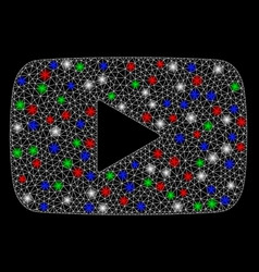 bright mesh network play video with light spots vector image