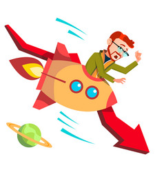 businessman riding a rocket falls down on vector image
