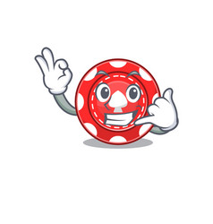 Call me funny gambling chips mascot picture style vector