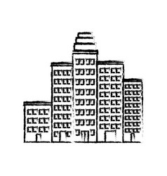 cartoon cityscape cartoon row of various buildings vector image