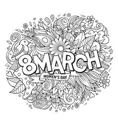 cartoon cute doodles hand drawn 8 march vector image