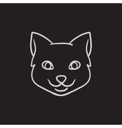 Cat head sketch icon vector image