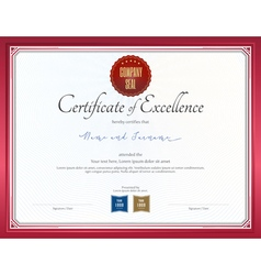 Certificate of excellence template with red border vector