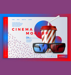 cinema site template with cola and glasses vector image
