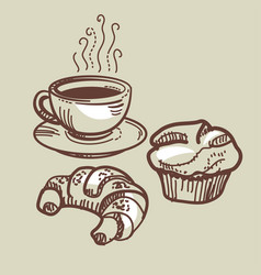 Coffee cup croissant and muffin sketch style vector