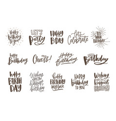 Collection of monochrome birthday wishes or hand vector