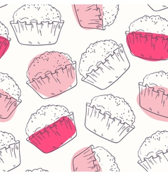 Decorative food seamless pattern with muffins vector image