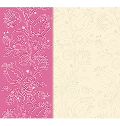 Decorative pink background with hand drawn flowers vector