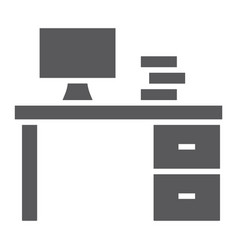 Desk glyph icon furniture and office table sign vector