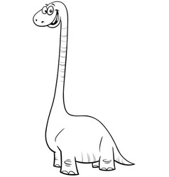 Dinosaur cartoon character coloring book vector