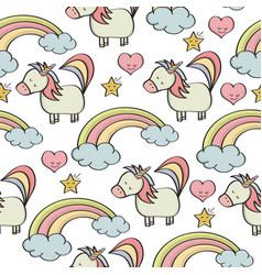 Doodle seamless pattern with unicorns and other vector
