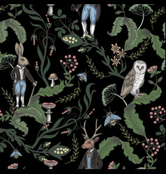 Fairytale graphic seamless pattern with forest vector