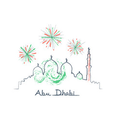 Fireworks in abu dhabi city flag colors vector