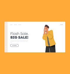 Flash sale big sale landing page template young vector