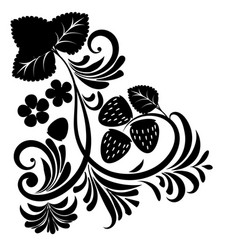 Floral ornament with strawberries silhouettes vector