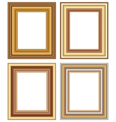 Four wooden carved frames isolated on white vector image