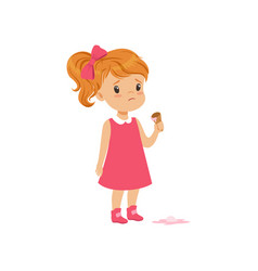 Girl feeling unhappy with ice cream drop vector