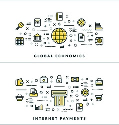 Global Economics and Internet Payments Flat Thin vector image