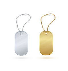 Gold and silver empty metal tag on a bead metal vector