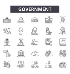 government concept line icons signs set vector image
