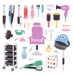 Hairdressing salon barbershop devices symbols vector