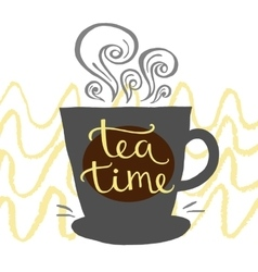 Hand drawn letter time for tea vector image