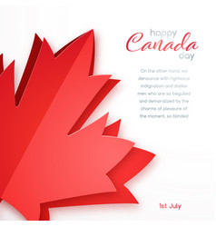 happy canada day design greeting card with red vector image