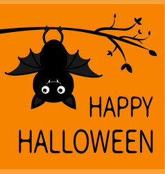 happy halloween hanging on tree branch cute vector image