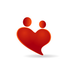 heart couples symbol of care icon vector image