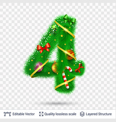 holiday decorative number of fir tree with toys vector image