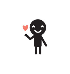 icon of man in love with red heart in his hand vector image