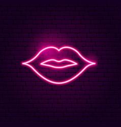 kiss lips neon sign vector image