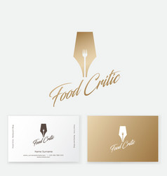 Logo gold writing pen with fork silhouette vector