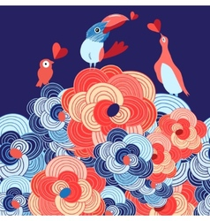 lovers of birds on the flowers vector image