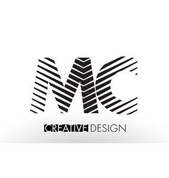 Mc m c lines letter design with creative elegant vector