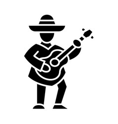 Mexican with guitar glyph icon vector