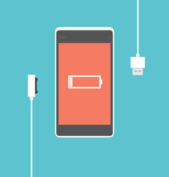Mobile phone charging proces vector image