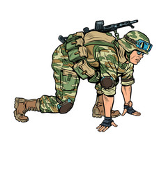 modern soldier in starting position vector image