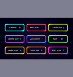Neom web button glow modern colorful action vector
