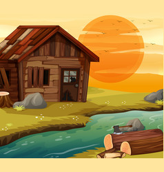 old wooden house by river vector image