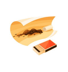 Open box of matches and rolling paper for vector